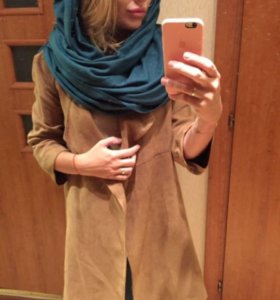 Пальто из замши и платье замша