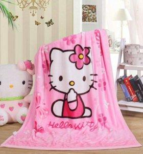 Флисовое одеяло Hello Kitty. Новое