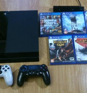 PlayStation 4 + 2 пульта + 5 игр