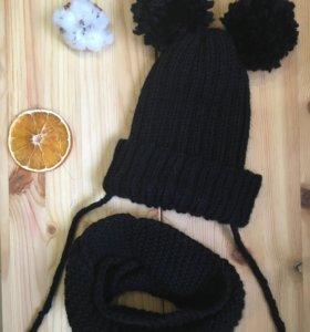 Комплект шапка с помпонами и снуд