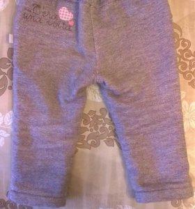Теплые брюки на девочку р-р 80