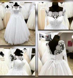 Новинка. Белоснежное свадебное платье с рукавом