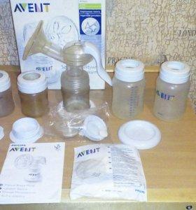 Молокоотсос Avent + зап.клапан + 4 бутылочки