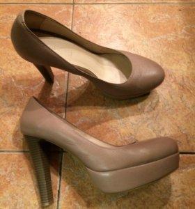 Туфли пудровые на платформе кожаные