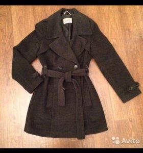 Пальто-тренчкот, натуральная шерсть