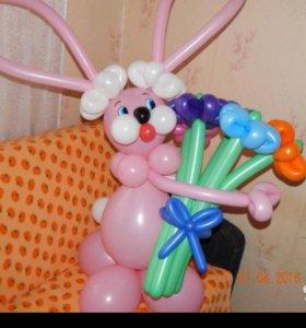Зайчик из шаров. Гелиевые шары