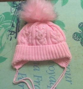 Зимняя шапка для малышки на флисе