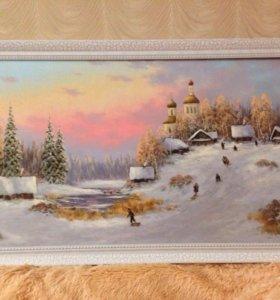 """Картина """"Зимние забавы"""" 50*90см."""