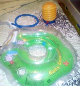 Детский круг для плавания и насос к нему