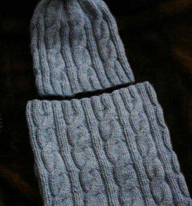 Комплект мужской: шапка + снуд (полушерсть)