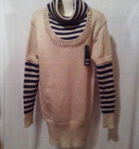 Джемпер- платье,новый,100℅ шерсть