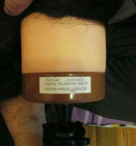 Болванка учебная  голова . 100 % натуральный волос