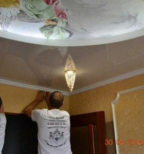 Натяжной потолок монтаж, изготовление.