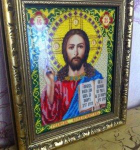 Картина икона из бисера