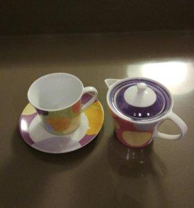 Набор чайный, 3 предмета, фарфор