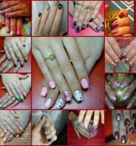 Наращивание ногтей и покрытие гель лаком!в Талнахе