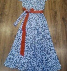 Платье летнее в пол с поясом