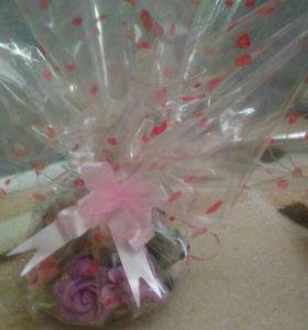 Корзиночка с цветами 7 шт.( маленькая в упаковке)