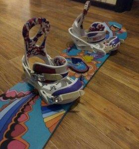 Сноуборд Burton (125)+крепления для девочки