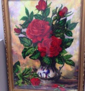 """Готовая вышитая картина """"Розы"""""""