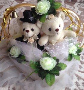 Украшение свадебное на авто с мишками