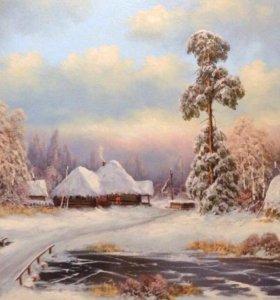 """Картина """"Зима"""" 50*90см. Холст, масло. 2017г."""