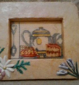 Картина вышитая крестиком  чаепитие