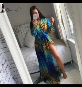 Платье шифоновое в пол новое с леопардовым принтом
