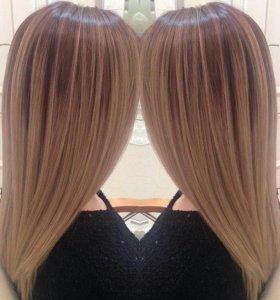 Окрашивание волос , кератиновое выпрямление