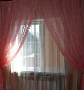 Капрон розовый портьерный