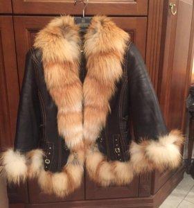 Новая кожаная куртка с натуральным мехом