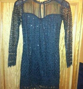 Маленькое черное платье с пайетками s - xs