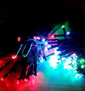 Светодиодные гирлянды на батарейках разноцветные