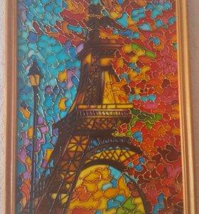 Картина витражная роспись по стеклу