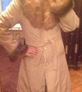 пальто зимнее, мех лиса и кролик
