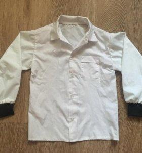 """Рубашка с """"кожаными"""" вставками на рукаве"""