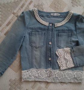 Джинсовый пиджачок с ажурными рукавами