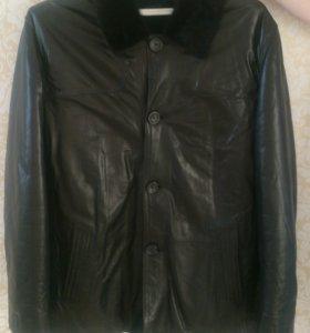 Зимняя мужская куртка кожаная