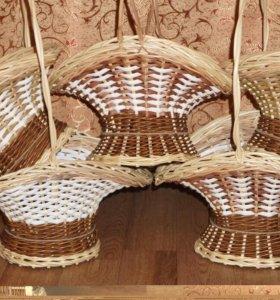 Плетеные корзинки для цветов и подарков. Грибные