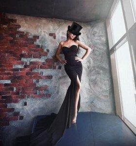 Новое !!!Вечернее черное платье со шлейфом
