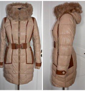 Зимнее пальто бежевое женское теплое