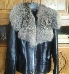 Дублёнка, укороченная куртка натуральный мех р.42.