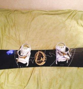 Сноуборд с креплением, ботинки и чехол