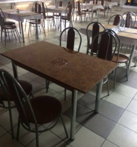 Комплект стол обед.1200/600 +4 стула( мет.кожзам)