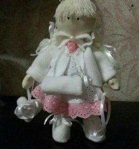Интерьерная текстильная кукла Снежка