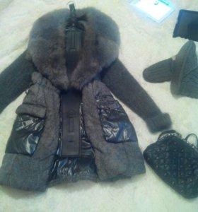 Пальто с вязаными рукавами
