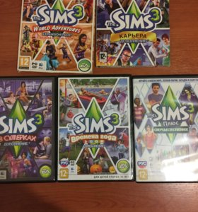 Диски игра симс-3 + 4 диска дополнения
