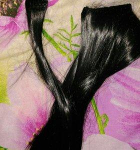 Накладные волосы на заколках, 50 см, темный каштан