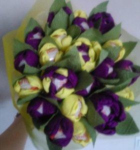 Изготовление букетов цветов из конфет!