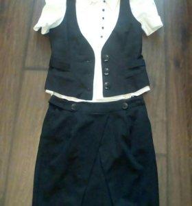 Блузка+юбка+жилетка